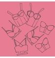 women bra doodle underwear vintage lingerie vector image