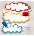 Colorful bubbles for speech on chequered sheet vector image vector image