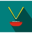 Bowl of rice with pair of chopsticks icon vector image