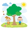 Boy and girl near big tree vector image