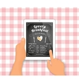 Breakfast menu on the tablet pc vector image