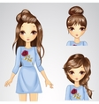 Girl In Blue Dress And Collection Of Hairstyle vector image
