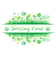 green spring grass with flower and butterflies vector image