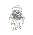 Hand drawn girl holding photocamera with lettering vector image