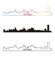 Buffalo skyline linear style with rainbow vector image