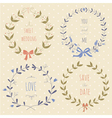 Set of hand drawn wedding wreaths vector image