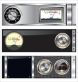 Technology banner with VU meter and volume knob vector image