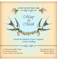 Floral wedding invitation card with flowers birds vector image