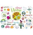 Planet home doodle set vector image
