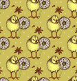 Sketch chiken and dandelion pattern vector image