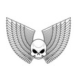 skull with wings emblem flying skeleton head logo vector image