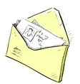 Letter and photos in envelope cartoon icon vector