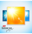 Set of hot shining sun with lens flare Web slider vector image