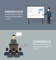 Public speaking flat icons set of business vector image