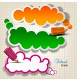 Colorful bubbles for speech on chequered sheet vector image