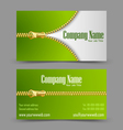 Zipper theme business card Vector Image