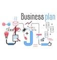 Business plan concept in flat line design vector image
