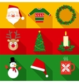 Christmas Symbols Set in Flat Style vector image