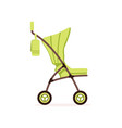 green baby carriage safe handle transportation of vector image