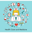 Health Care and Medicine Line Art Thin Icons Set vector image