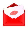 Open red envelope with lipstick kiss on letter vector image