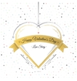 Valentines Day Card Lettering Gold Frame vector image