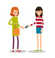 young girl wants to pay for purchase with credit vector image