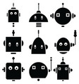 Vinatge robot heads 2 vector image
