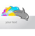 dolphin print symbol cmyk header vector image
