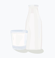 and glass milk bottle vector image