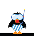 bird sings with a diving mask vector image