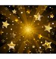 Dark Radiant Background with Golden Stars vector image