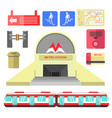 metro station transport and signs poster on white vector image