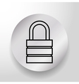Security padlock on round button vector image