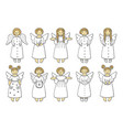 set of colored angel icons vector image