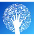 Social media network hand success vector image