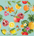 seamless tropical fruits pattern orange lemon vector image