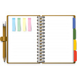 Ring Organizer Notebook With Pencil And Post it vector image