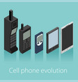 cell phone evolution isometric vector image