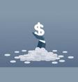 rich business man hand hold dollar money finance vector image