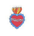 sacred heart doodle icon vector image