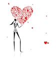 Valentine day Girl with big red heart Vector Image