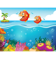 Two scary piranhas at the sea vector image vector image