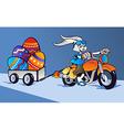 Crazy Easter Bunny cartoon in motorbike vector image