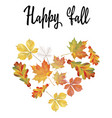 heart of different autumn leaves vector image