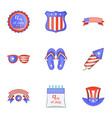independence day badge icons set cartoon style vector image