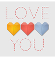 Origami hearts love you greeting card vector image
