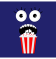 Popcorn screaming face vector image
