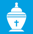urn icon white vector image