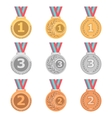 Set of gold silver and bronze medals in different vector image vector image